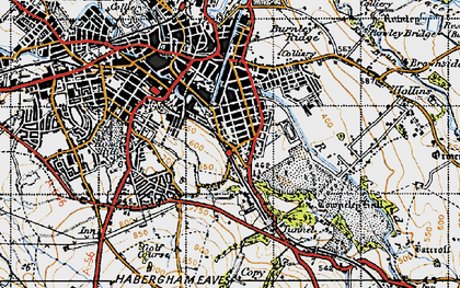 Old map of Burnley Wood in 1947