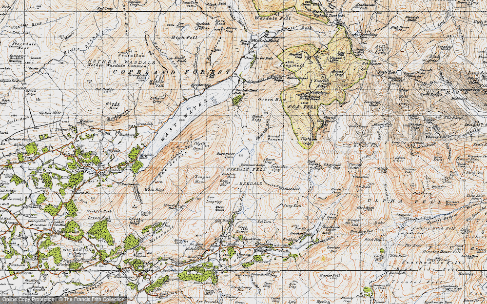Old Map of Burnmoor Tarn, 1947 in 1947