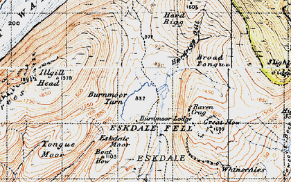 Old map of Burnmoor Tarn in 1947