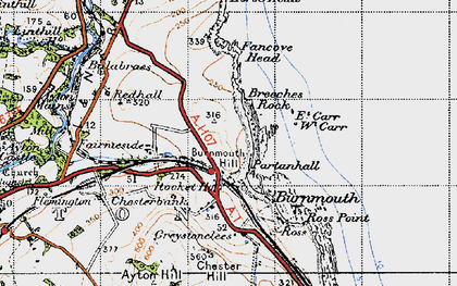 Old map of Burnmouth in 1947