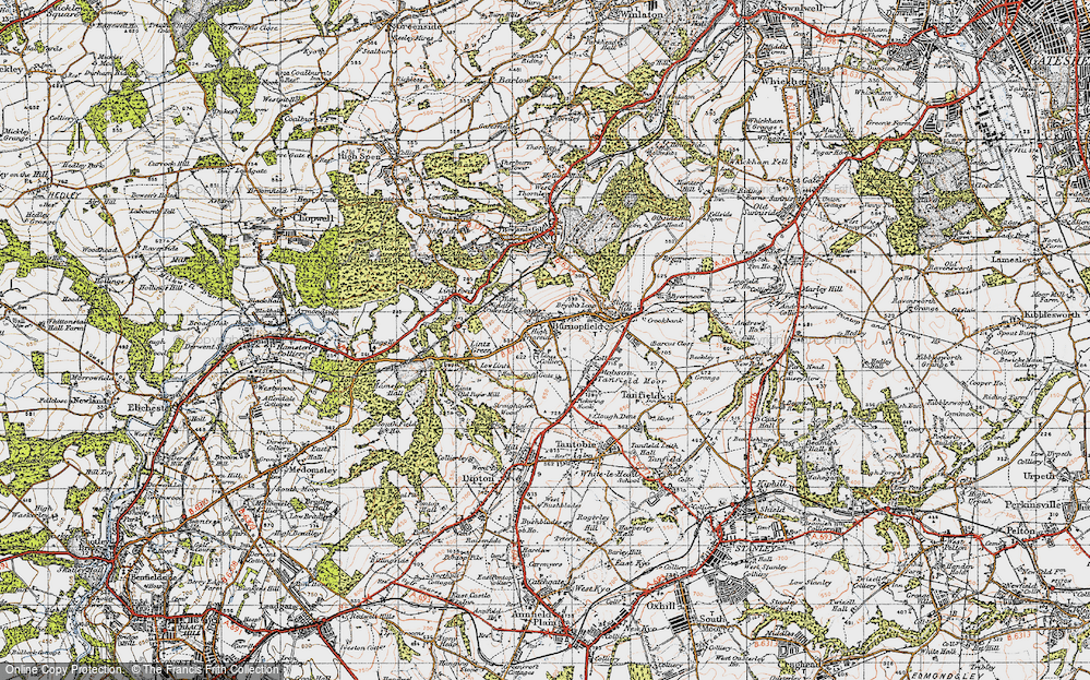 Old Map of Historic Map covering Lintz Green in 1947