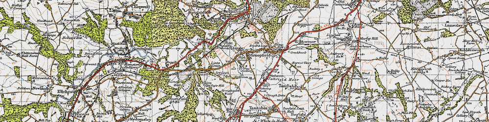 Old map of Lintz Green in 1947