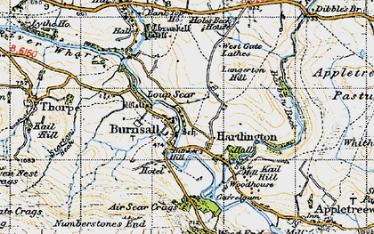 Old map of Air Scar Crags in 1947