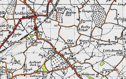 Old map of Badley Hall in 1945