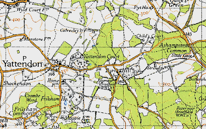 Old map of Burnt Hill in 1947