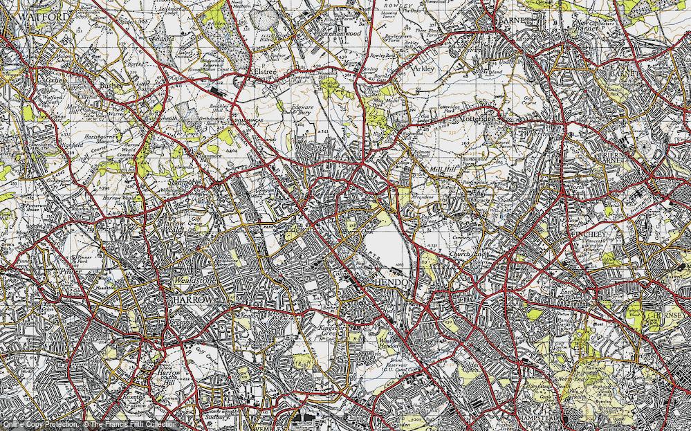 Old Map of Burnt Oak, 1945 in 1945