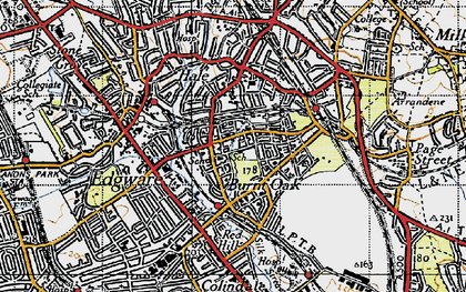 Old map of Burnt Oak in 1945