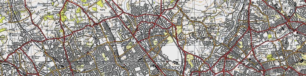 Old map of Burnt Oak in 1945