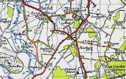 Old map of Burntcommon in 1940