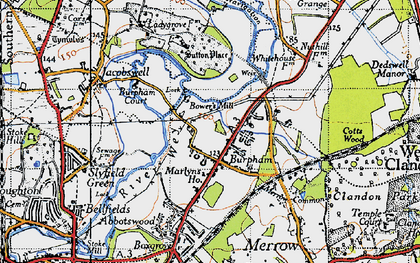 Old map of Burpham in 1940