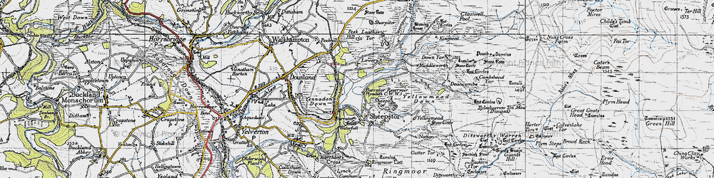Old map of Leather Tor in 1946