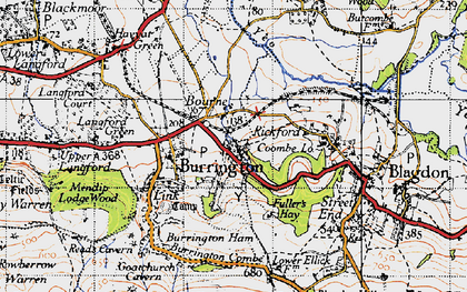 Old map of Burrington in 1946