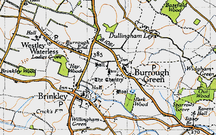 Old map of Burrough Green in 1946