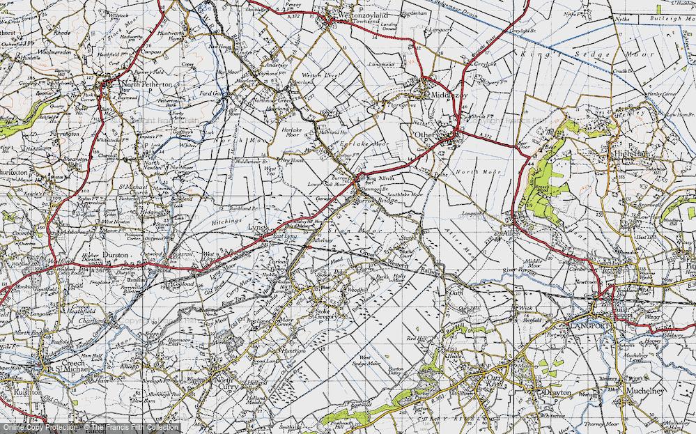 Old Map of Burrowbridge, 1945 in 1945
