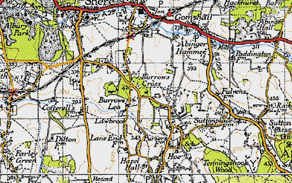 Old map of Burrows Cross in 1940