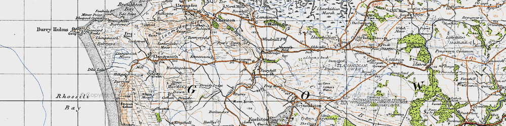 Old map of Burry Green in 1946