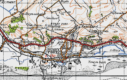 Old map of Burry Port in 1946