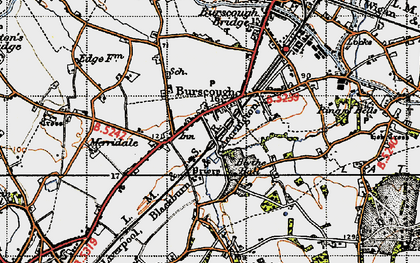 Old map of Burscough in 1947