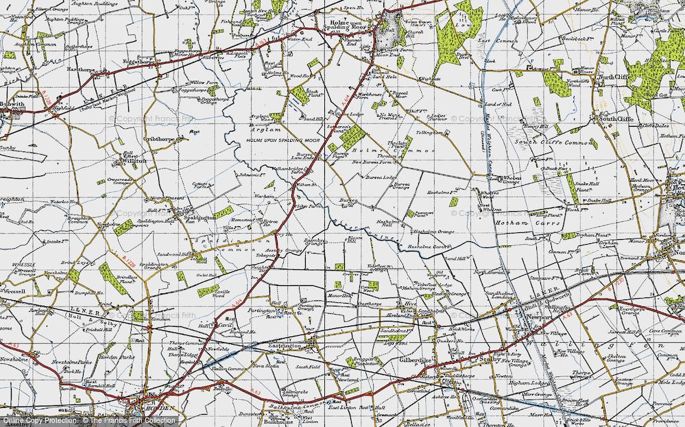 Old Map of Historic Map covering Asselby Grange in 1947