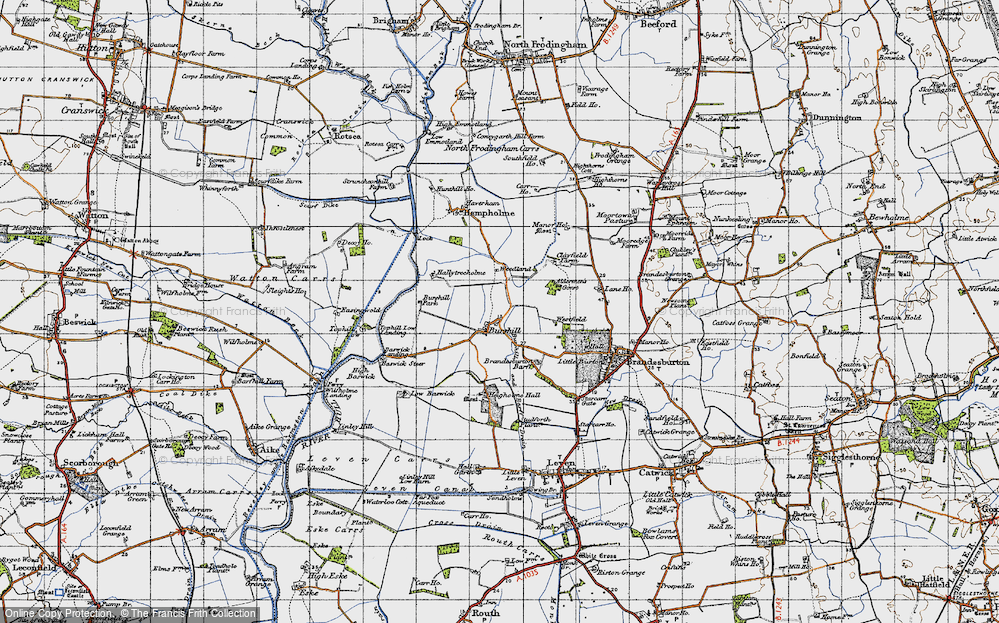 Old Map of Historic Map covering Aldermen's Gorse in 1947
