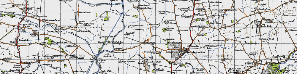 Old map of Aldermen's Gorse in 1947