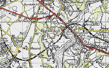 Old map of Bursledon in 1945