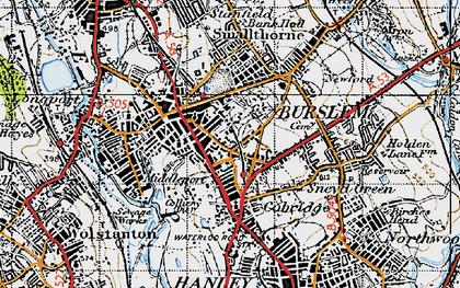 Old map of Burslem in 1946