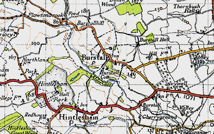 Old map of Burstall in 1946