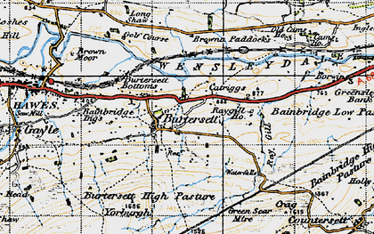 Old map of Bainbridge Ings in 1947