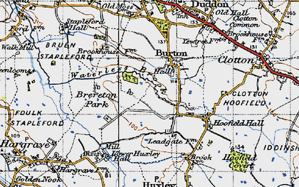 Old map of Burton in 1947