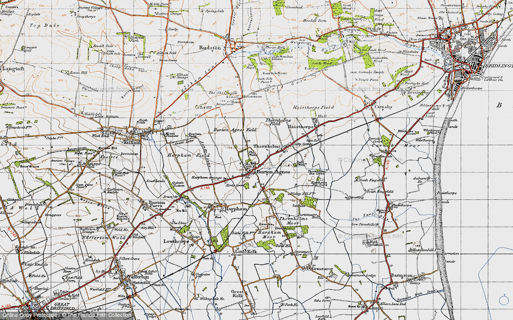 Old Map of Burton Agnes, 1947 in 1947