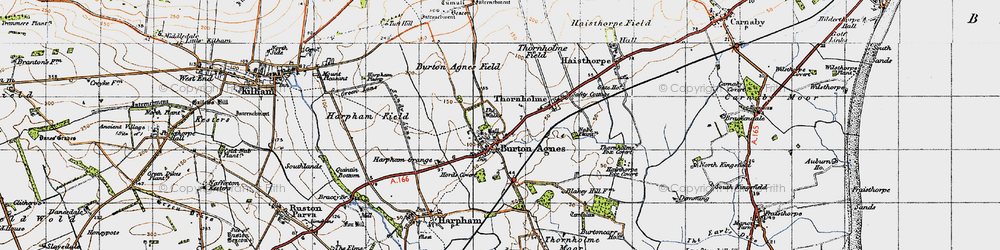 Old map of Burton Agnes in 1947