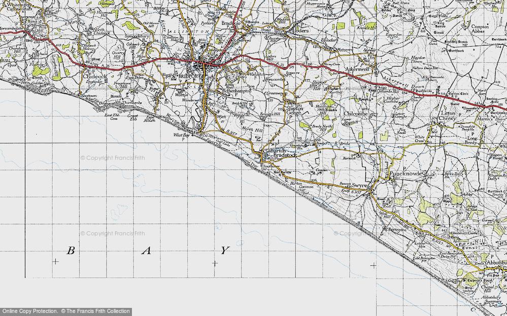 Old Map of Burton Bradstock, 1945 in 1945