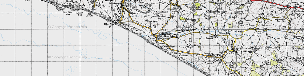 Old map of Burton Bradstock in 1945