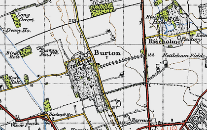 Old map of Burton-by-Lincoln in 1947