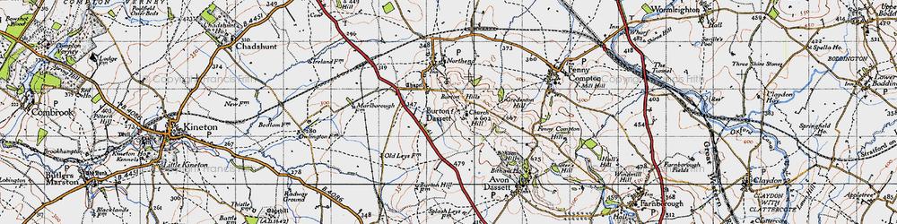 Old map of Burton Dassett in 1946