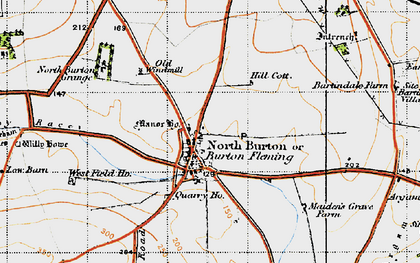 Old map of Burton Fleming in 1947