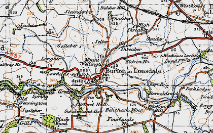 Old map of Burton in Lonsdale in 1947