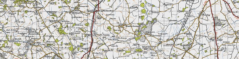 Old map of Burton Leonard in 1947