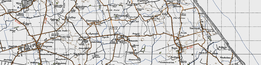 Old map of Willow Toft Fox Covert in 1947