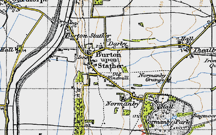 Old map of Burton upon Stather in 1947