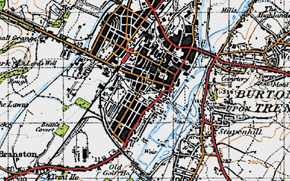 Old map of Burton upon Trent in 1946