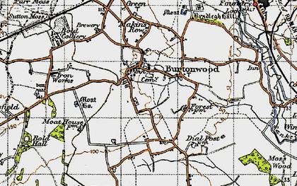 Old map of Burtonwood in 1947
