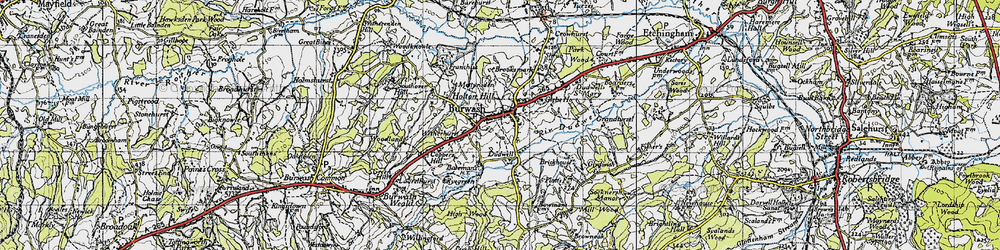 Old map of Burwash in 1940