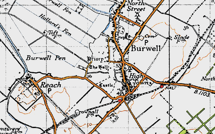 Old map of Burwell in 1946