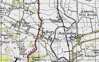 Old map of Bury in 1940