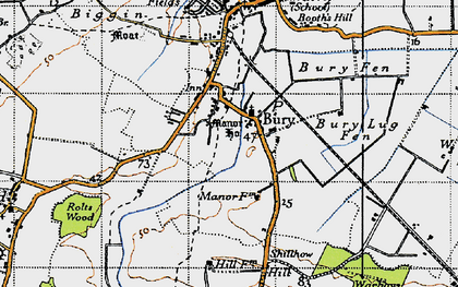 Old map of Wistow Fen in 1946