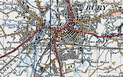 Old map of Bury in 1947