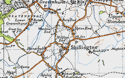 Old map of Bury End in 1946