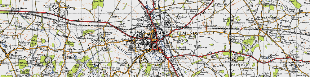 Old map of Bury St Edmunds in 1946